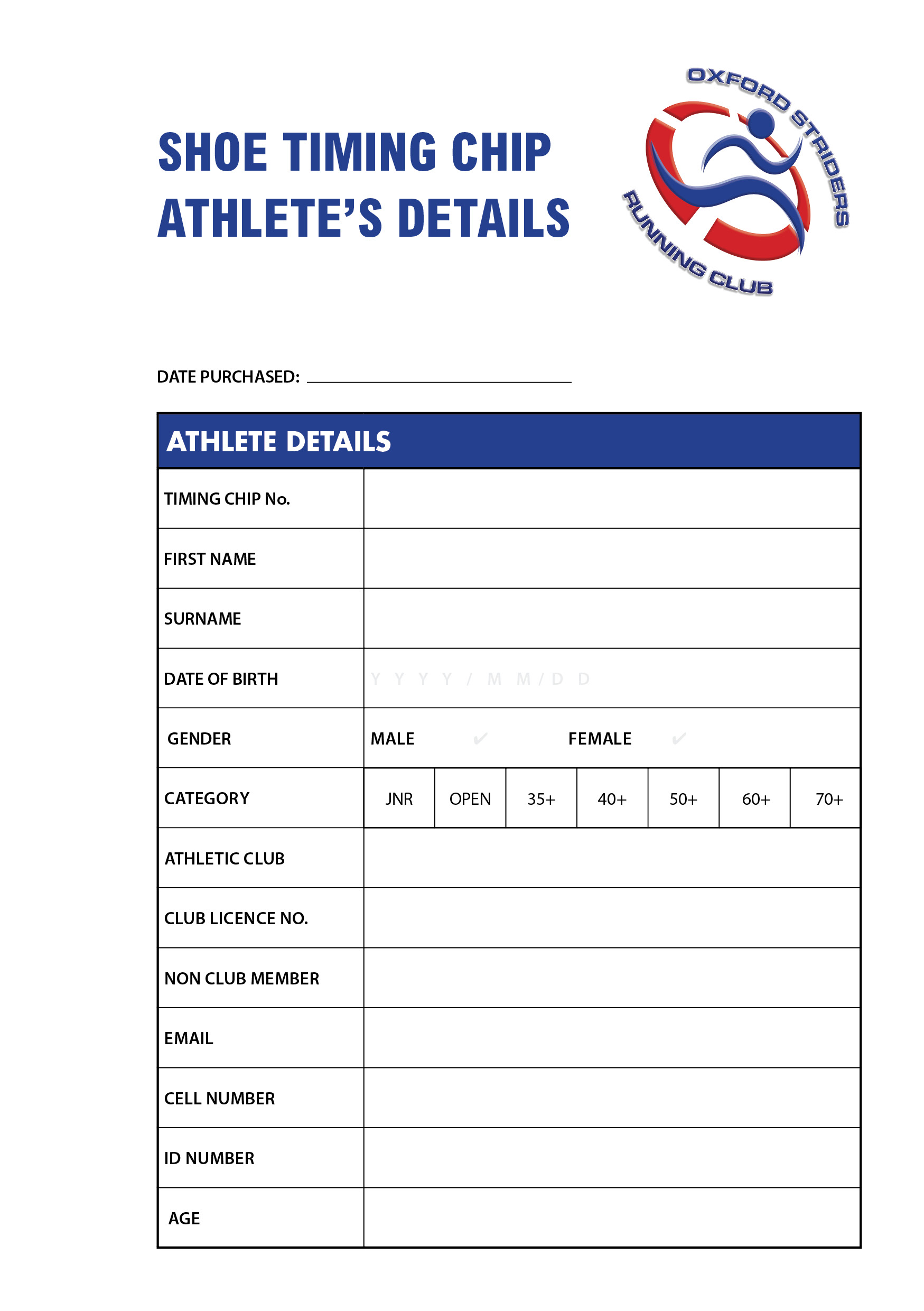 SHOE CHIP ATHLETE PURCHASE DETAILS COLOUR